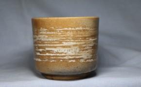 出雲焼刷毛目筒茶碗   明治時代